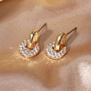Gold & CZ Pave Buckle Style Stud Earrings